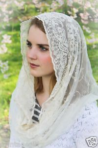 NEW-Embroidered-Ivory-Lace-Chapel-Veil-Mantilla-Infinity-Veil-Scarf-Latin-Mass