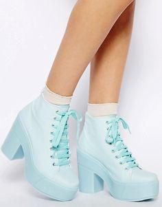 f558ef9412 ASOS | Shelly's London Mint Blue Lace Up Ankle Boots Mint Blue, Blue Lace,