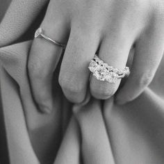 Marquise Stacker Band with Avior Three Stone Diamond Engagement Ring and Chenier Set Diamond Wedding Band. Modern Engagement Rings, Gemstone Engagement Rings, Three Stone Engagement Rings, Best Diamond, Diamond Bands, Diamond Wedding Bands, Naveya And Sloane, Bridal Ring Sets, Marquise Diamond