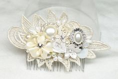 Ivory Bridal Comb- Ivory Hair Accessories-Rhinestone & Pearl Bridal Comb-Vintage Hair Piece-Brass Boheme-Ivory Hairpiece-Ivory Lace Haircomb, $59.00