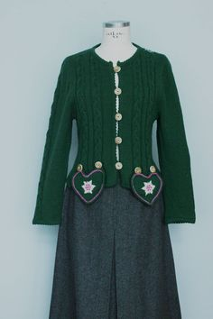 Ich freue mich, den jüngsten Neuzugang in meinem #etsy-Shop vorzustellen: Vintage jacket, knitted jacket, dirndl, jacket, coat, Tyrolean, Austrian, wool jacket,  cables, 100% wool, smaragd green, designer, handmade Vintage Jacket, Mantel, Designer, Etsy Shop, Tops, Hand Knitting, Handmade, Jackets