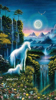 Dětské puzzle Jednorožec - starline - svítí ve tmě Unicorn And Fairies, Unicorn Fantasy, Unicorn Art, Fantasy Dragon, Beautiful Landscape Wallpaper, Beautiful Landscapes, Magical Creatures, Fantasy Creatures, Unicornios Wallpaper