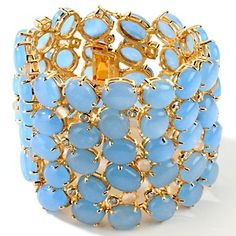 "Couture Jewelry by Adrienne ""Bubbles"" Diamonite CZ and Blue Quartzite Bracelet at HSN.com"