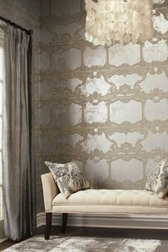 Small Living Room Ideas & Design on a Budget with Decoration Tips Metallic Wallpaper, Modern Wallpaper, Wall Wallpaper, Designer Wallpaper, Gold And Silver Wallpaper, Burke Decor, Small Living Rooms, Wall Treatments, Wall Design