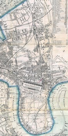 Bow and Poplar - 1861 London 1800, London Map, Old London, East London, Victorian London, Old Maps, Antique Maps, Vintage Maps, Antique Prints