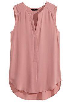 Pink Plain Irregular V-neck Sleeveless Causal Loose Blouse