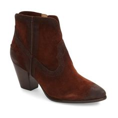 Women's Frye 'Renee' Western Bootie ($298) ❤ liked on Polyvore featuring shoes, boots, ankle booties, brown suede, frye boots, short boots, cowboy boots, short brown boots and short cowgirl boots