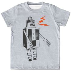 kid's robot t-shirt by Little Lark. I want this in adult size.