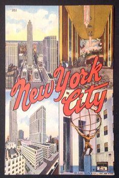 Mid Century New York City Post Card Linen Postcard of Times Square Travel Ephemera Collectible Souvenirs Memorabilia Vintage Postcards