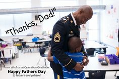"""""""Thanks, Dad!"""" Caption: Six-year-old Xavier Jones, right, gives his father, U.S. Army Sgt. 1st Class Larry Franklin, a hug during Career Day at New Century International Elementary School in Fayetteville, N.C.(U.S. Army photo by Timothy Hale/Released)"""