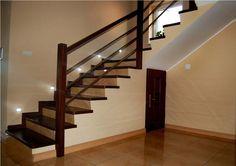 Schody nowoczesne z drewna. Schody wewnętrzne wbudowane w konstrukcję. Marka: Prudlik.