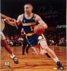 Chris Mullin Drive to Basket Left Handed Vertical 16x20 Photo w/ 'HOF 2011' Insc.