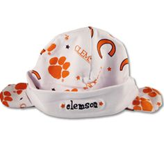 Clemson hat and mittens for the newborn tiger