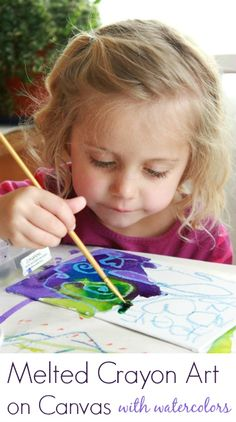 Melting Crayons Art on Canvas with Watercolors