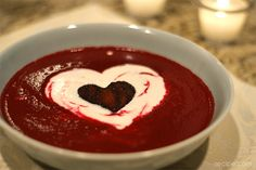 Our wintry and refined version of a traditional beet borscht is a delicious (and adorable!) way to kick off Valentine's Day dinner!