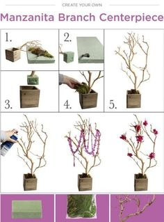 DIY Wedding Branch Centerpiece | Budget Bride Ideas | Afloral.com Branches and Wedding Decor ~Find everything you need to recreate this DIY at Afloral.com.  Decorate the branches with flowers, hanging candles, crystal garlands, lights, mini pomander balls, birds, and more!