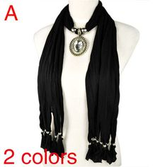 Fashion Black Jewellery Necklace Scarf with Stone Glass Charm Pendant ,NL-1805A