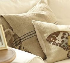 diy PB pillows - need to learn how to sew! (but first need a sewing machine...)