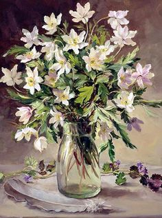 Wood Anemones in a Jam Jar greetings card by Anne Cotterill