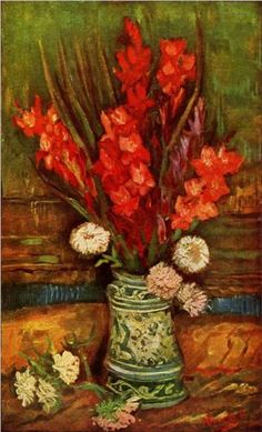 PARIJS juli-sept. 1886  Vaas met gladiolen / Still LIfe - Vase with Red Gladiolas - Vincent van Gogh