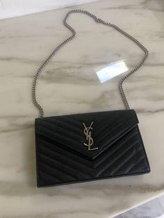 bcc4cb963125 Black Silver YSL Wallet On Chain Bag Purse Ysl Wallet On Chain