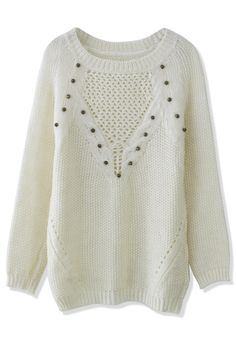 Studded White Knit Sweater