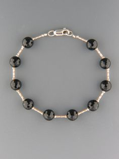 Onyx Bracelet - 8mm round faceted stones with Sterling Silver beads