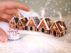 My little gingerbread houseys. Lots of peppermints and chocolates, cookies and biscuits. and cotton candy from the chimneys. They are made of polymer clay. The tallest house is cm tall Polymer Clay Christmas, Miniature Christmas, Christmas Minis, Miniature Food, Christmas Cookies, Christmas Time, Christmas Crafts, Christmas Decorations, Gingerbread Village