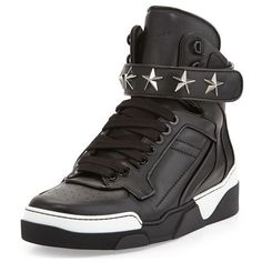 Pre-Owned Givenchy Tyson Starstudded High Top Mens Sneakers Sz 12 Us... ($806) ❤ liked on Polyvore featuring men's fashion, men's shoes, men's sneakers, black, mens studded sneakers, mens studded shoes, mens high tops, mens black high tops and mens velcro strap sneakers