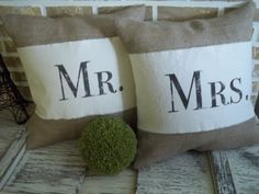 "A perfect gift for the Bride and Groom. A set of two burlap pillows with a washed cotton strap Mr. & Mrs. printed on them. Each pillow measures 17"" x 17"", Pillow inserts included. Envelope closure back. If you would like the pillows in 'WASHED COTTON CANVAS' or 'BURLAP' please look for my other listings. If you'd like an 'Established Date' on the bottom back right of the pillow, please indicate."