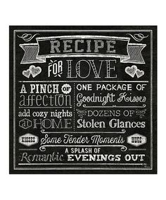 'Recipe For Love' Canvas Wall Art by Epic Art #zulily #zulilyfinds