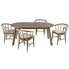 A fresh take on the timeless picnic set, the expandable Dexter Dining Set is made from sustainably-harvested wood in an airy driftwood finish that's weather-resistant. Handsome as it is durable, it works equally well indoors, too. Concrete Outdoor Dining Table, Rustic Outdoor Furniture, Outside Furniture, Metal Dining Table, Outdoor Dining Chairs, Outdoor Living, Outdoor Lounge, Bar Furniture, Furniture Design