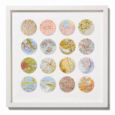 Sixteen Map Circles Wedding Anniversary Art