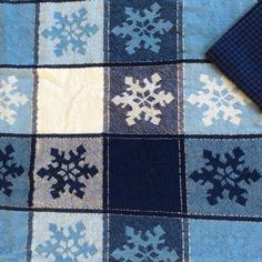 Blue Snowflake Tablecloth With Metallic Highlights By DunkirkCross $25