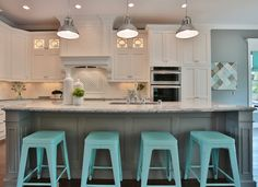 House of Turquoise / Grey & Turquoise Kitchen Kitchen Decorating, Home Decor Kitchen, New Kitchen, Home Kitchens, Kitchen Ideas, Kitchen Tips, Dark Kitchens, Kitchen Country, Kitchen Upgrades