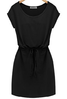 Black Short Sleeve Drawstring Slim Dress