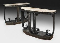 FRENCH -  PAIR OF CONSOLE TABLES, CIRCA 1925