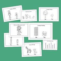 Recursos para el aula: Los conceptos opuestos alto y bajo Spanish Classroom, Infants, Maths, Bullet Journal, Abstract, Learning, Activities, Card Templates Printable, Autism