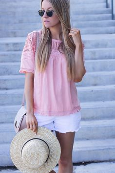 coral lace fringe top // summer style // summer outfit ideas - life by lee