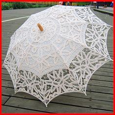 "Beautiful Elegant 30"" Handmade Embroidered Lace Parasol White"