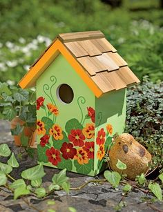 Floral Print Birdhouse   Decorative And Functional