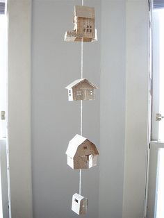 Tiny paper houses mobile