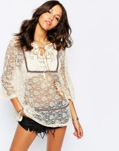 Image 1 of Boohoo All Over Lace Boho Top