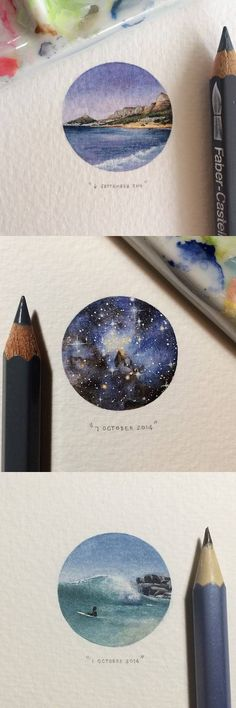 South African artist, Lorraine Loots, created coin-sized paintings as part of a project entitled, 365 Postcards for Ants. Art And Illustration, Illustrations, Kunst Inspo, Art Inspo, Art Watercolor, Watercolor Pencils, Watercolor Landscape, Watercolours, Drawn Art