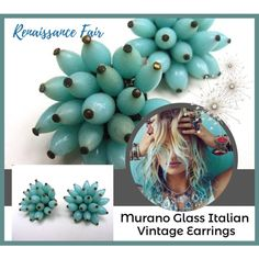 Murano Glass Vintage Earrings by renaissance-fair on Polyvore featuring vintage