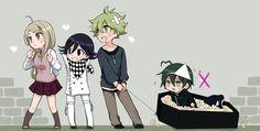 New Dangan Ronpa - Kaede, Kokichi, Rantaro et Shuishi New Danganronpa V3, Danganronpa Memes, Rantaro Amami, Pink Blood, Anime Rules, Ouma Kokichi, My Hero Academia Manga, Manga Games, Kawaii Anime