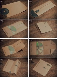 Make this easy paper sleeve out of inexpensive parcel paper. | 16 Cool Ideas For Homemade Mix CD Artwork