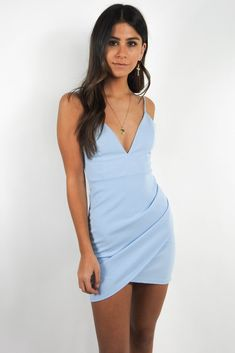 Oasis Blues Bodycon – Grey Bandit A-Line Spaghetti Straps V-Neck Dusty Pink Homecoming Dresses,Party dresses Semi Dresses, Elegant Dresses, Cute Dresses, Blue Bodycon Dresses, Bodycon Dress Short, Light Blue Bodycon Dress, Blue Dress Outfits, Casual Dresses, 1950s Dresses