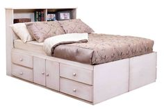 Gothic Cabinet Craft - Queen Storage Bed with 10 Drawers