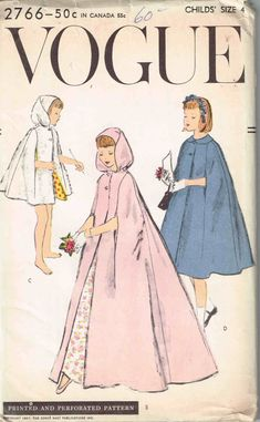 Uncut, Vogue #2766 Child's Size 4 Evening, Party, Bridal Cape Sewing Pattern by theShoppingMollies on Etsy